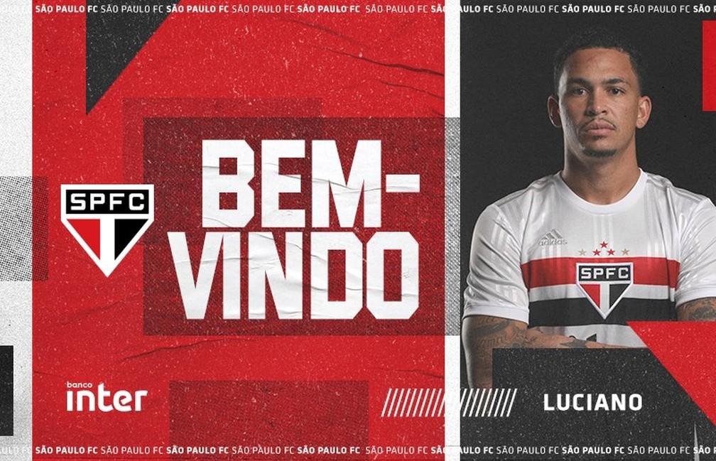 Luciano é anunciado pelo São Paulo — Foto: Divulgação