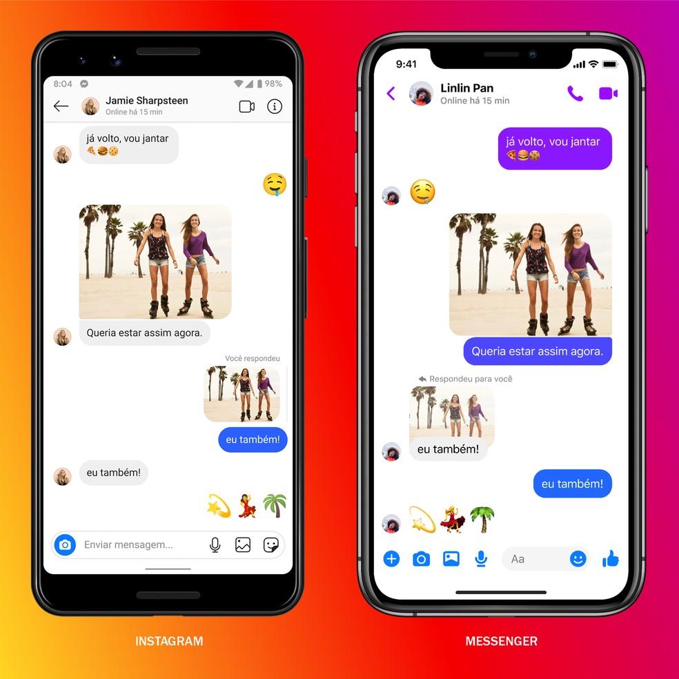 Pessoas poderão conversar com amigos do Instagram e Facebook a partir de qualquer um dos apps. — Foto: Divulgação/Facebook