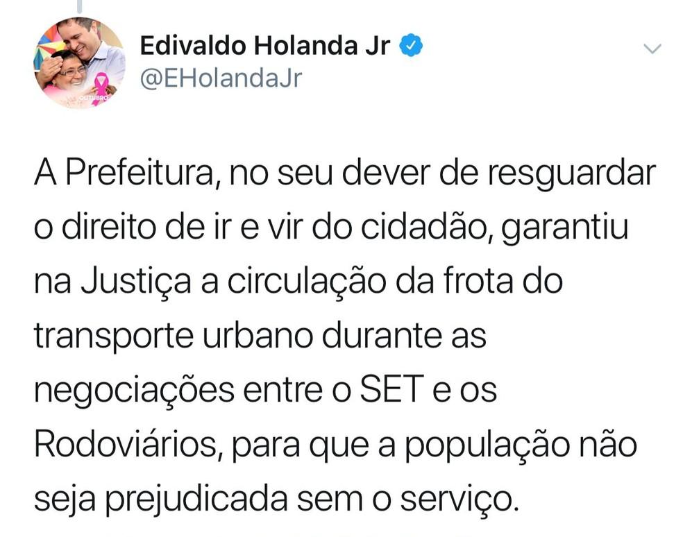 Prefeito de São Luís informa por meio de rede social que garatiu na Justiça a circulação da frota de ônibus — Foto: Divulgação/Reprodução Twitter