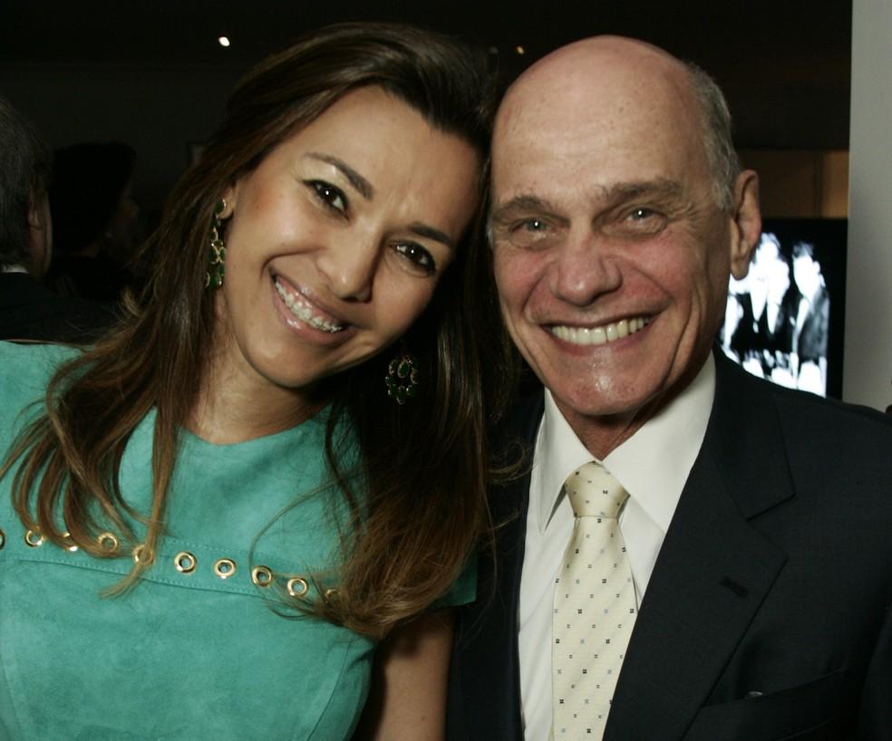 Veruska e Ricardo Boechat durante evento em São Paulo. Foto de novembro de 2011 — Foto: Paulo Giandalia/Estadão Conteúdo/Arquivo