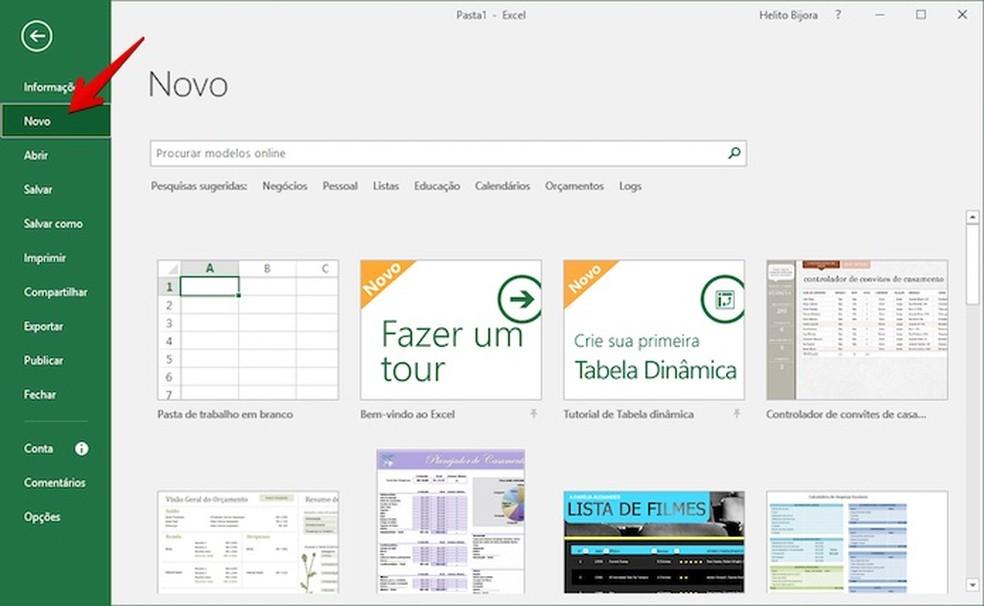 """Acesse a galeria de modelos do Excel clicando em """"Novo"""" na coluna à esquerda da tela (Foto: Reprodução/Helito Bijora)"""