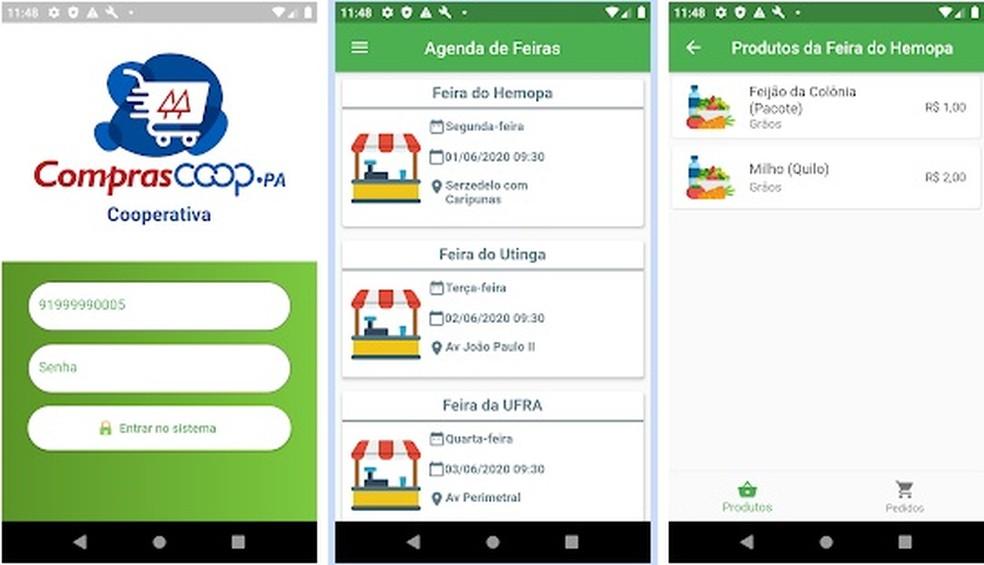 Pelo app Compras Coop-Pa, o consumidor checa a localização feira, faz o pedido e combina a hora de retirada e a forma de pagamento. — Foto: Divulgação