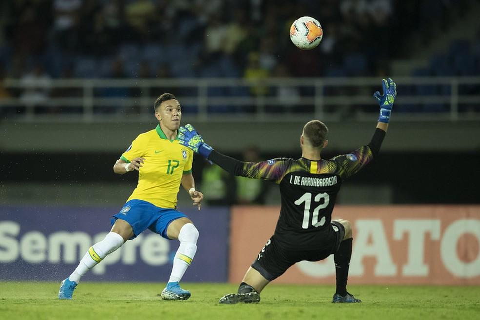 Pepê fez três gols no Pré-Olímpico — Foto: Lucas Figueiredo / CBF
