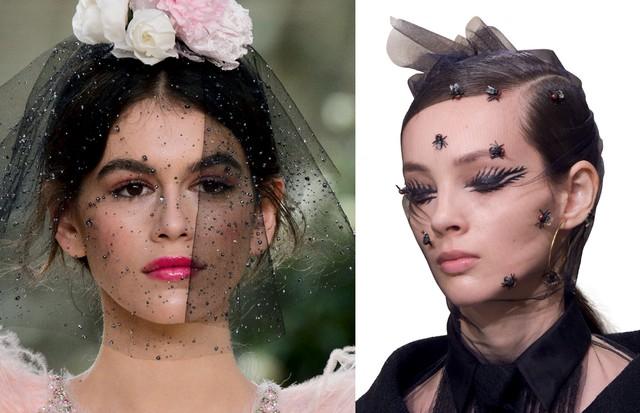 Da esquerda para a direita: versão noiva dark no desfile da Chanel e mosquiteiro deluxe na Dior   (Foto: Imaxtree e Divulgação)