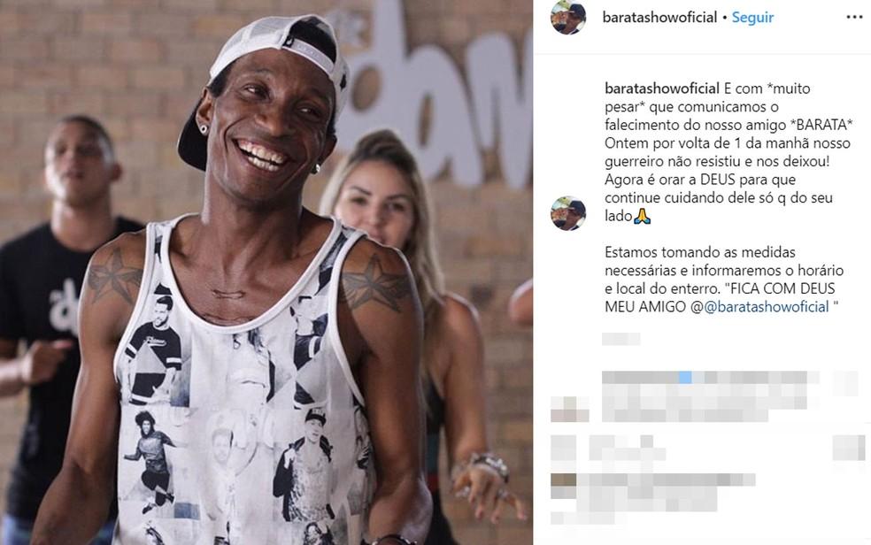 Dançarino Barata morreu em Salvador — Foto: Reprodução/Instagram