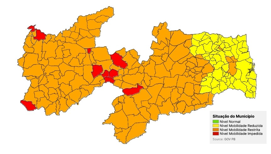Número de cidades da Paraíba na bandeira laranja passa de 14 para 153 do Plano Novo Normal
