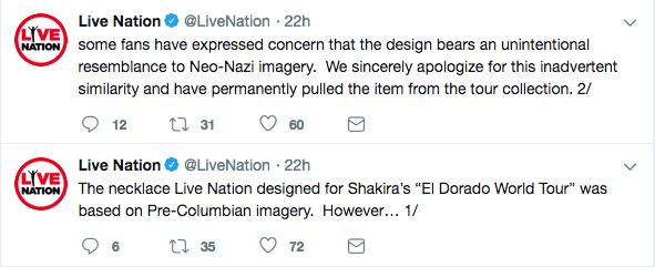 O pedido de desculpas emitido pela produtora de Shakira (Foto: Twitter)