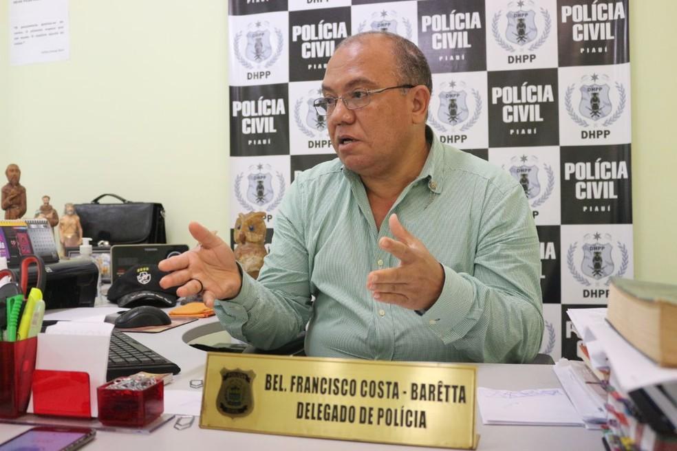 Delegado Francisco Costa, o Barêtta, da Delegacia de Homicídios (Foto: Catarina Costa / G1 PI)