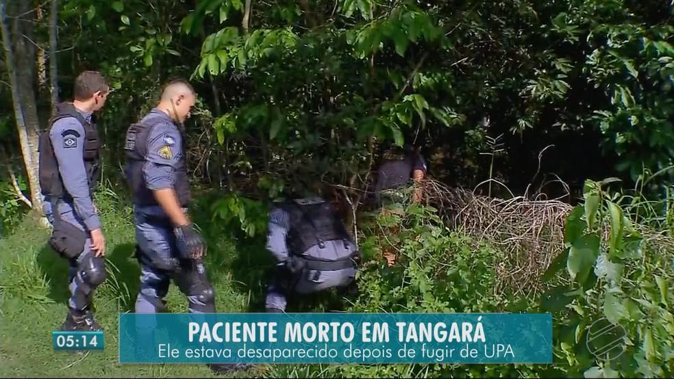 O corpo da vítima foi encontrado em um córrego — Foto: TVCA/Reprodução