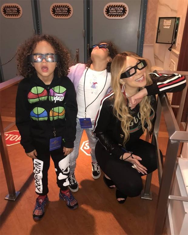 Mariah Carey e os filhos, Moroccan e Monroe (Foto: Reprodução / Instagram)