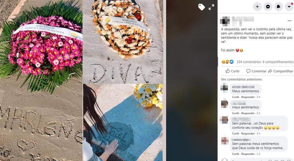Marina postou nas redes sociais lamentando a morte e não poder vê-los — Foto: Arquivo Pessoal