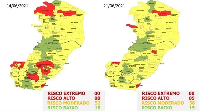 Em atualização do Mapa de Risco, cinco cidades têm risco alto para Covid-19 no ES