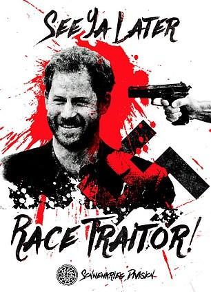 Montagem com Príncipe Harry feita pela Divisão Atomwaffen, grupo neonazista britânico (Foto: Reprodução)