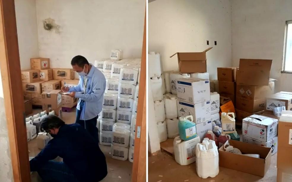 Agrotóxico produzido de maneira irregular em Aparecida de Goiânia — Foto: Reprodução/TV Anhanguera