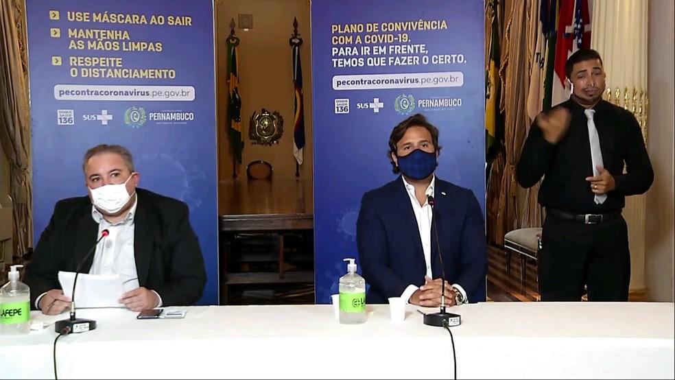 Secretários do governo anunciam proibição de eventos devido a uma piora na pandemia — Foto: Reprodução/YouTube