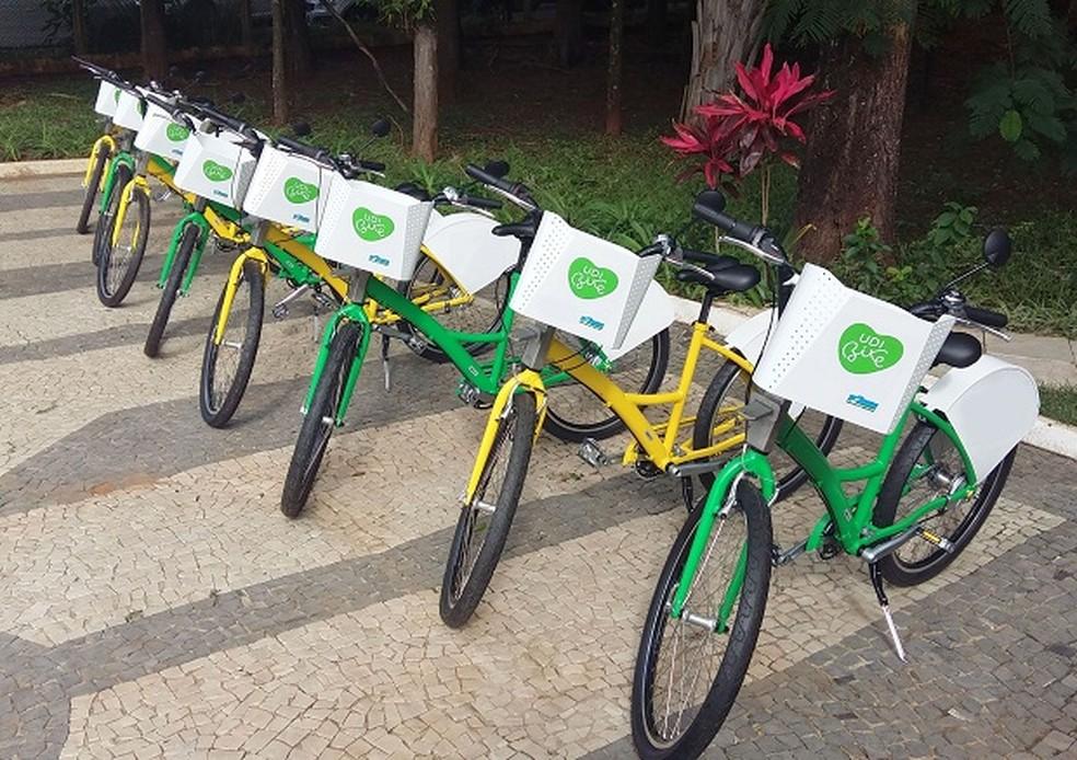 Bicicletas compartilhadas em Uberlândia (MG) — Foto: Divulgação
