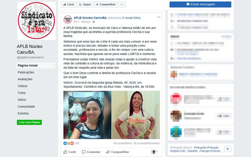 APLB emitiu nota de pesar pela morte de professora na Bahia (Foto: Reprodução/Facebook)