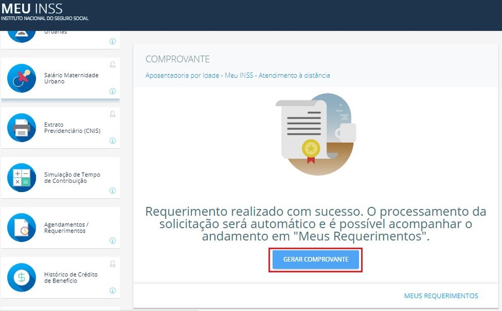 Obtenha seu comprovante de requerimento de aposentadoria direto do site Meu INSS (Foto: Reprodução/Meu INSS)