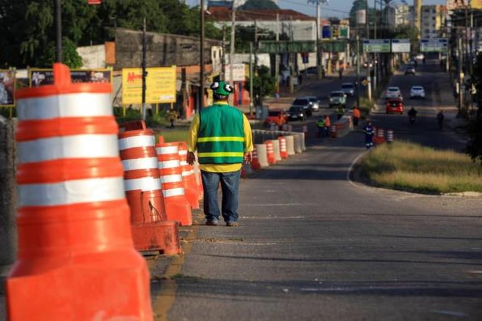 -  Acesso à avenida Mário Covas pela avenida Augusto Montenegro, em Belém, no sentido Icoaraci-Entroncamento, foi bloqueado  Foto: Agência Pará