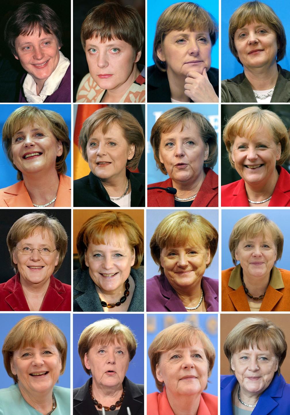 A primeira-ministra alemã Angela Merkel ao longo de sua carreira política, entre os anos de 1991 a 2016 — Foto: DPA via AFP/Arquivo
