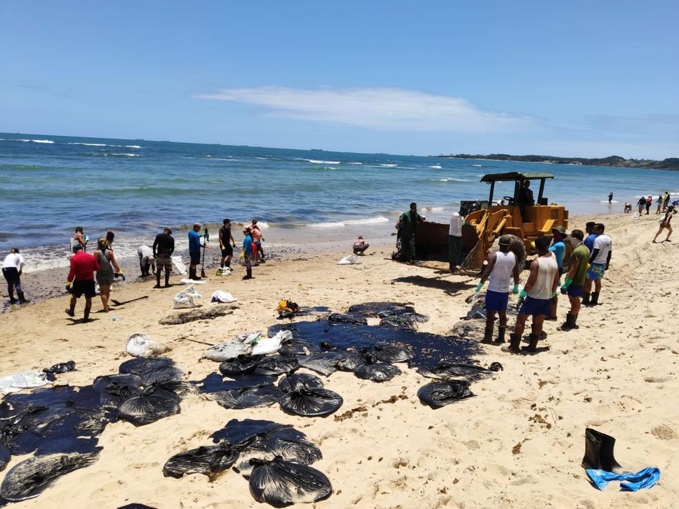 Trator e voluntários atuam na limpeza das manchas de óleo na Praia do Paiva, no Cabo de Santo Agostinho, nesta segunda-feira (21) — Foto: Oton Veiga/TV Globo