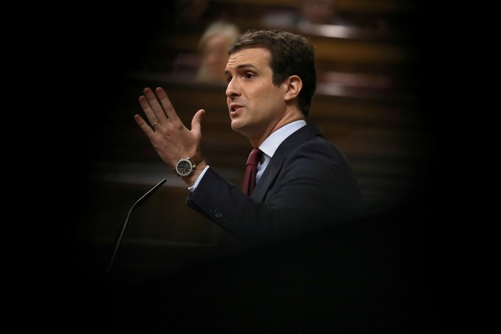 Pablo Casado, que assumiu a liderança do Partido Popular após a deposição de Mariano Rajoy. — Foto: Susana Vera/Reuters