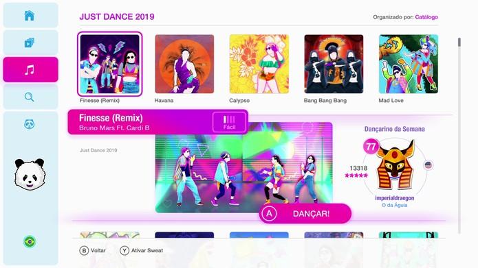 Novo menu de Just Dance 2019 (Foto: Reprodução/Murilo Tunholi)