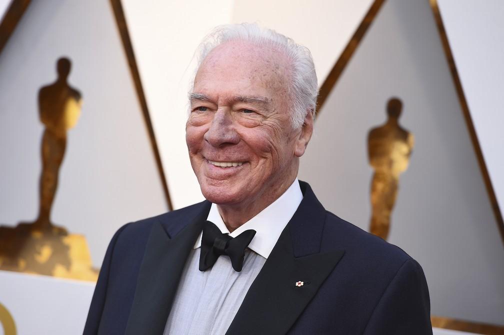 Christopher Plummer, indicado ao prêmio de Melhor Ator Coadjuvante, chega ao Oscar 2018 — Foto: Jordan Strauss/Invision/AP