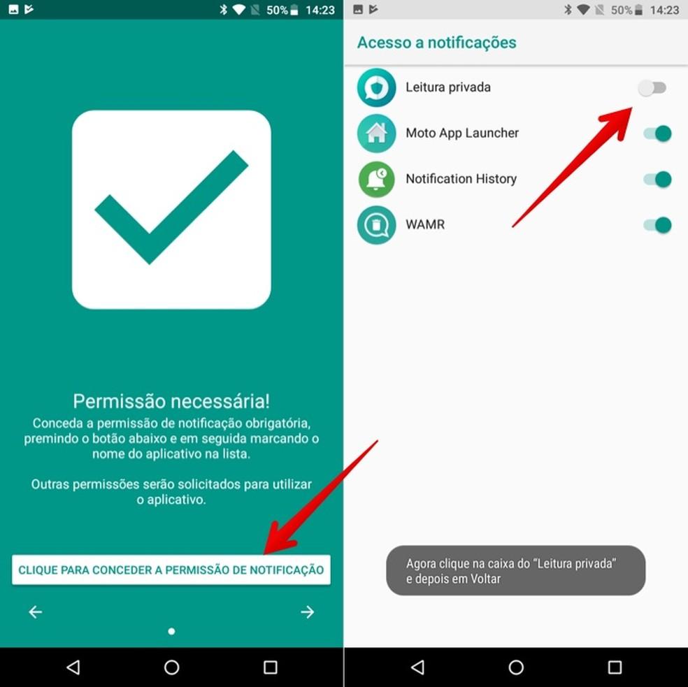 Configuração inicial do Private Read pede acesso às notificações do celular — Foto: Reprodução/Helito Beggiora