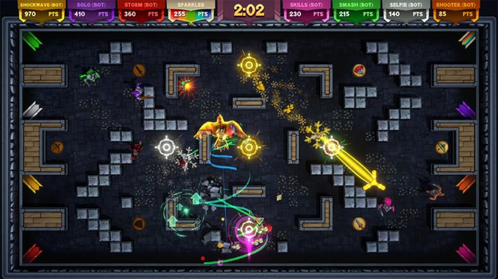 Knight Squad 2 traz multiplayer caótico para até oito jogadores online e repleto de modos diferentes — Foto: Reprodução/Steam