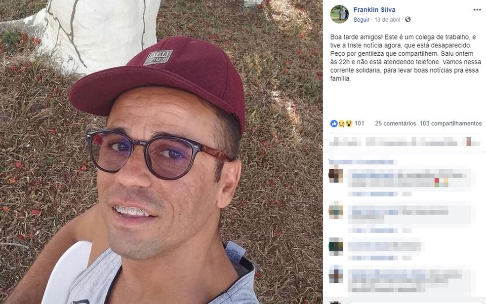 Amigos de Alex Fraga postaram nas redes sociais que ele havia desaparecido na sexta-feira (12), na Bahia — Foto: Reprodução/Facebook