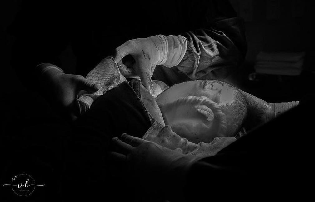 Davi Lucca nasceu saudável em São Miguel do Oeste — Foto: Vanuza Lolatto/Reprodução