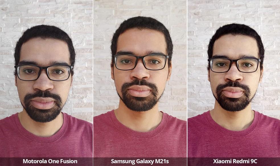 Comparativo das câmeras frontais do Motorola One Fusion, Samsung Galaxy M21s e Xiaomi Redmi 9C sob luz natural.. — Foto: Arquivo pessoal