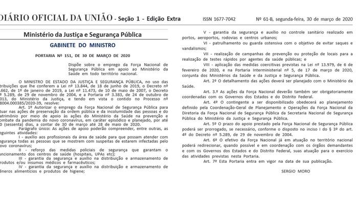 Moro autoriza uso da Força Nacional pelo Ministério da Saúde ...