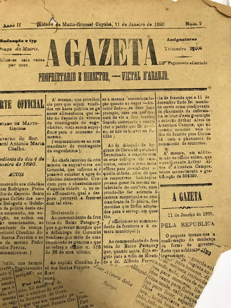 Jornais e periódicos contam a história de Cuiabá ao longo dos séculos — Foto: Arquivo Público/Reprodução
