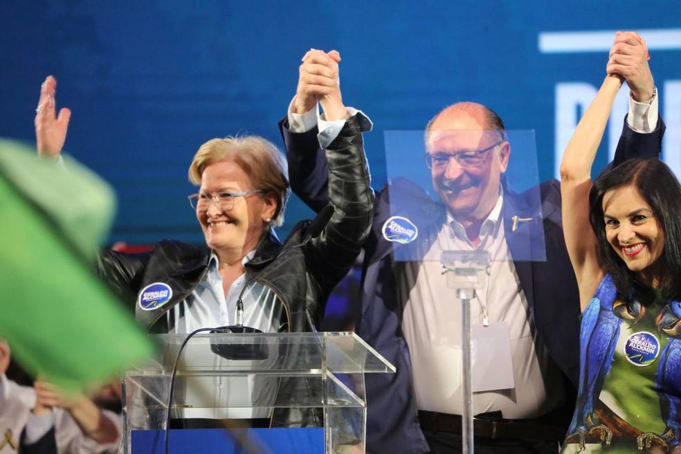 Geraldo Alckmin e Ana Amélia durante a convenção nacional do PMDB neste sábado (4) em Brasília (Foto: Fátima Meira/FuturaPress/Estadão Conteúdo)