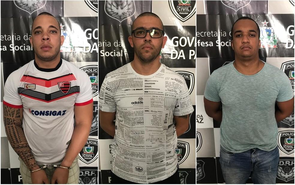Dois policiais da Bahia e um homem foram presos suspeitos de roubos e sequestros na Paraíba — Foto: Victor Melo/Polícia Civil