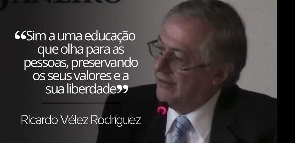 selo, frase, ministro da educação, Ricardo Vélez Rodríguez — Foto: Montagem/G1