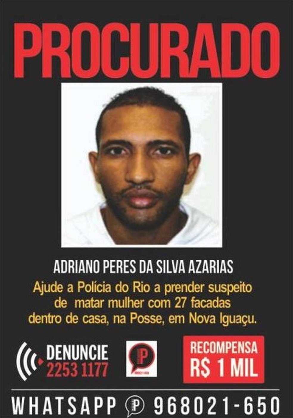 Suspeito de matar ex-mulher a facadas é preso no Complexo do Alemão, na Zona Norte do Rio.  — Foto: Reprodução/Disque Denúncia