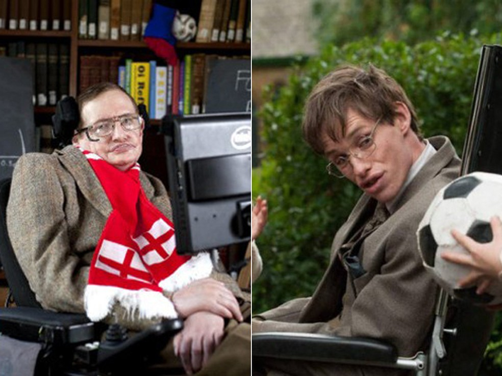À esquerda, o físico Stephen Hawking, e, à direita, o ator Eddie Redmayne em 'A teoria de tudo' (Foto: AP e Divulgação)