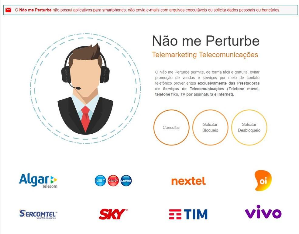 Página inicial do site 'Não Perturbe' — Foto: Reprodução
