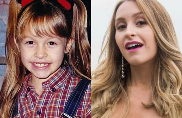 Carla Diaz em 1997, aos 7 anos, em 'Chiquititas', e atualmente aos 26, como Carine em 'A força do querer'. 'É um papel completamente diferente de tudo o que já fiz', diz a atriz. Veja quem também cresceu trabalhando na TV (Foto: Reprodução e TV Globo)