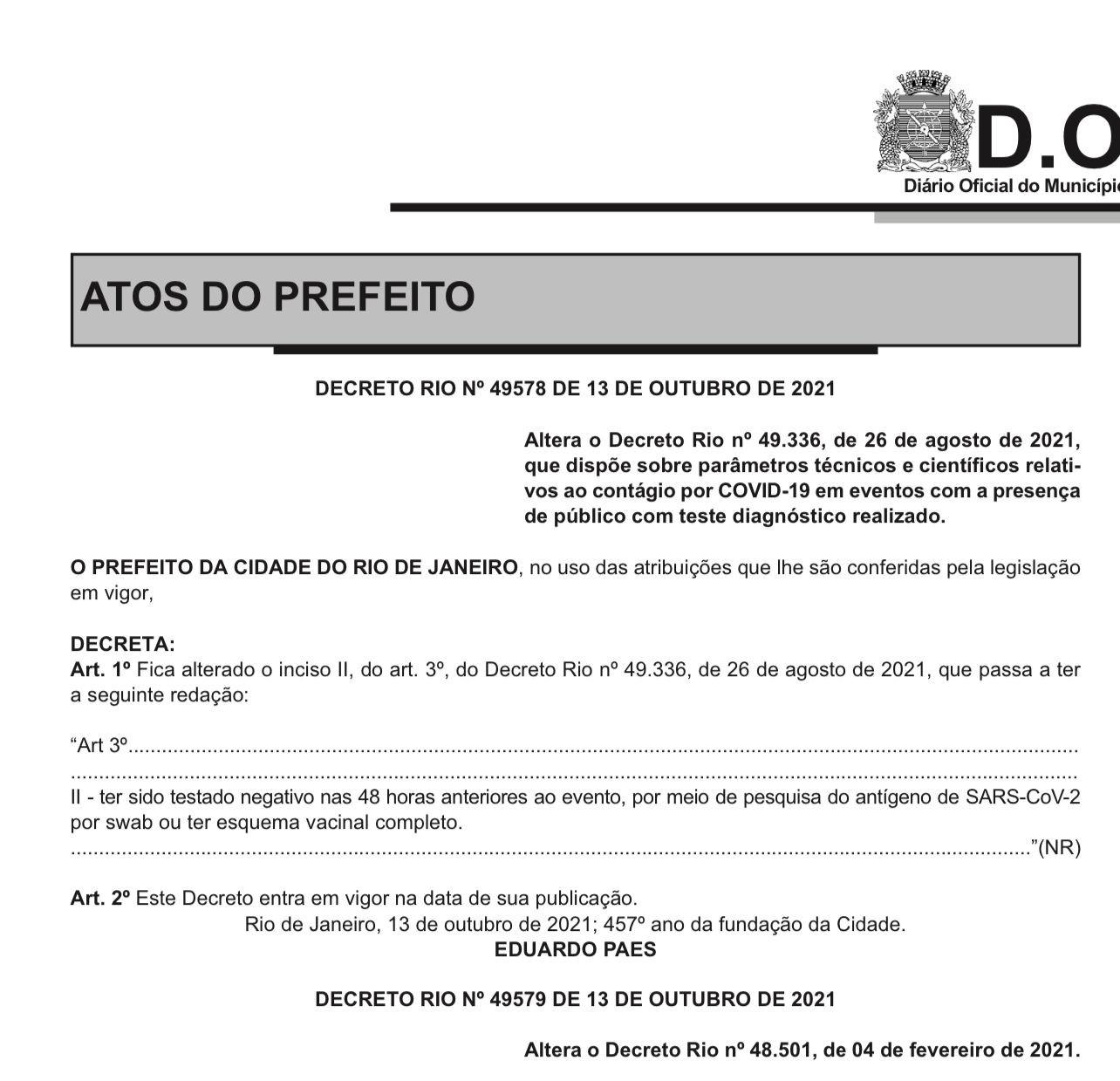 Eduardo Paes flexibiliza decreto que exige teste contra Covid antes de qualquer evento público