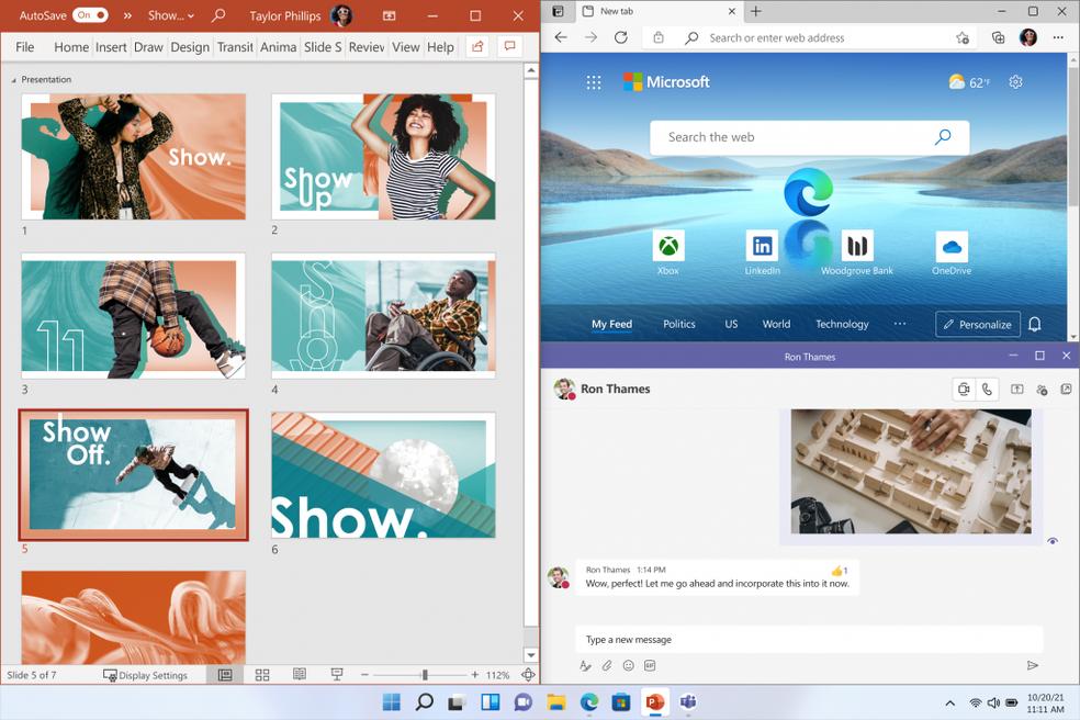 Divisão de janelas no Windows 11 — Foto: Divulgação/Microsoft