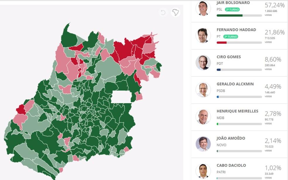 Veja como goianos votaram para presidente — Foto: Reprodução/G1