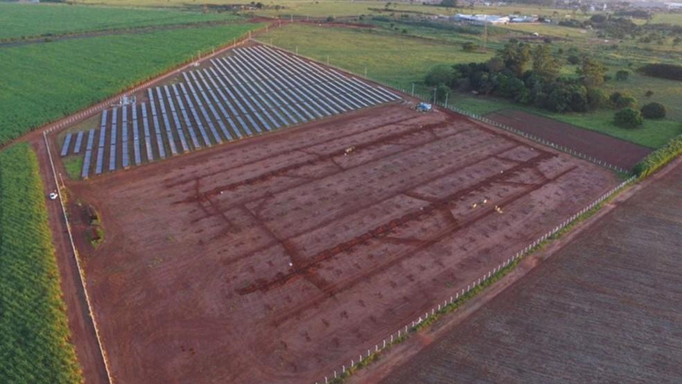 Área de construção da usina localizada em Frutal – MG.  — Foto: Divulgação