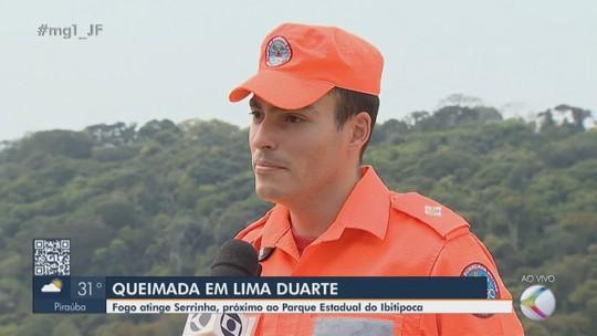 Equipes atuam no rescaldo do incêndio na região da Serrinha em Ibitipoca