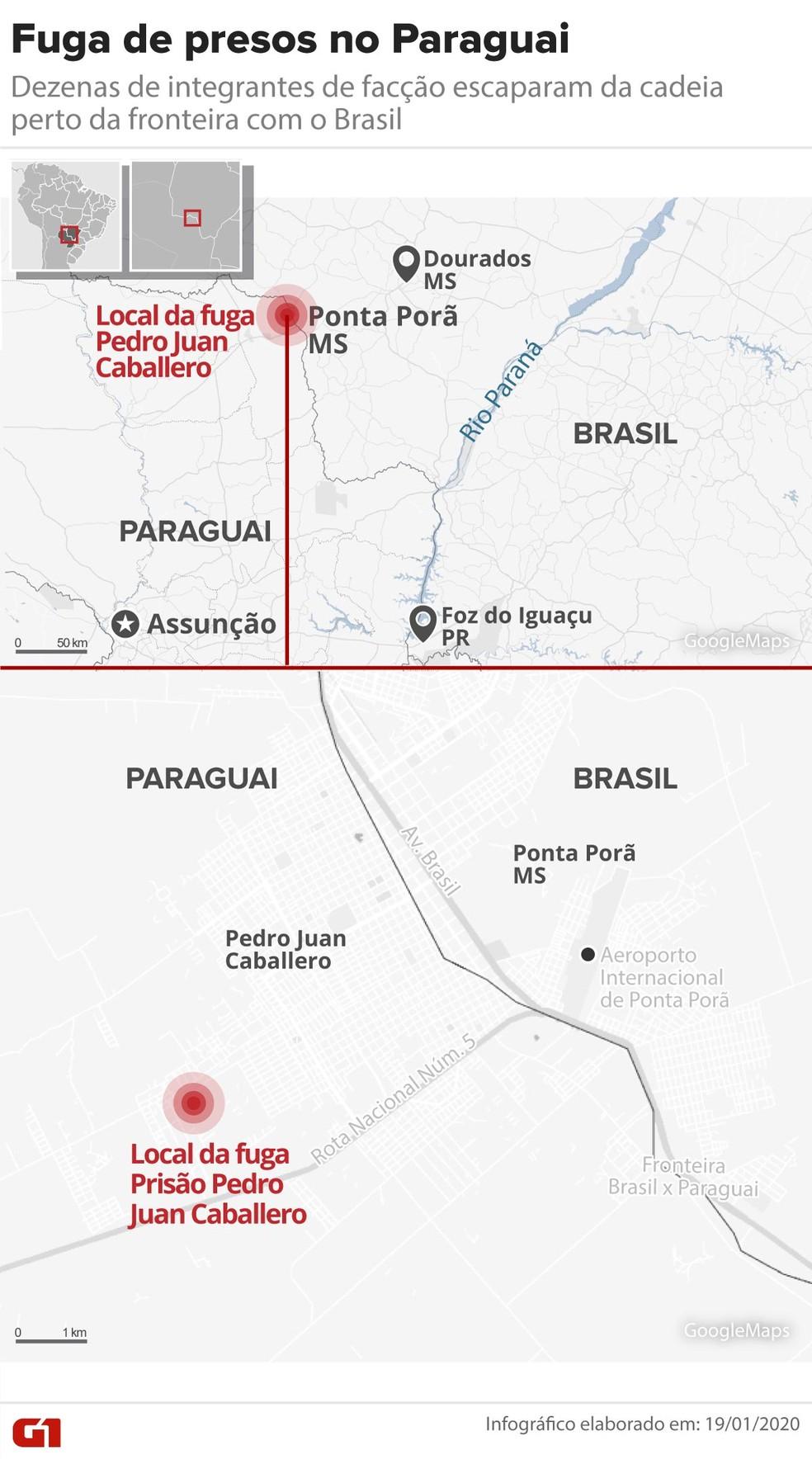 Fuga de presos no Paraguai — Foto: Guilherme Pinheiro/G1