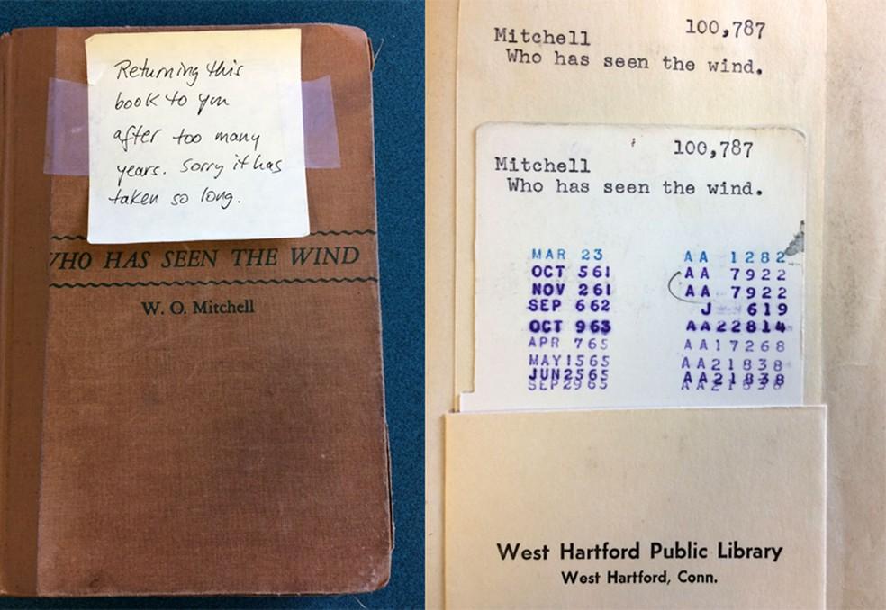 O livro, a ficha de devolução e o bilhete de desculpas (Foto: West Hartford Libraries/Facebook)
