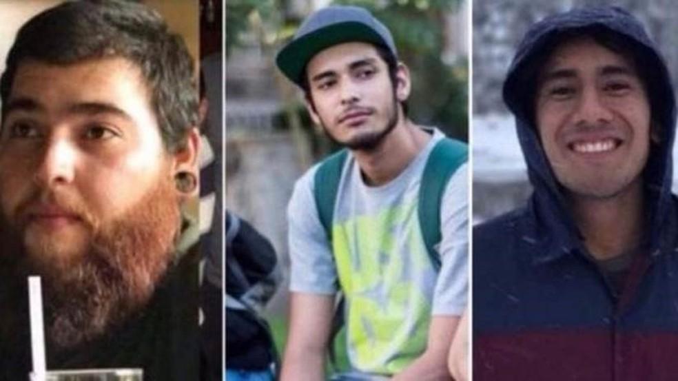 Salomón Aceves, Marco García e Daniel Díaz foram assassinados por bandidos de um cartel de drogas de Jalisco ao serem confundidos com membros de facção rival quando voltavam de uma filmagem para a universidade (Foto: Montagem com fotos de redes sociais / BBC)